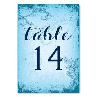 Vintage aqua scroll leaf wedding table number