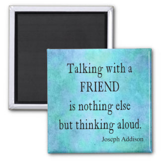 Vintage Aqua Teal Blue Addison Friendship Quote Magnet