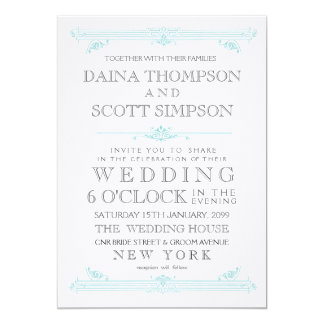 Vintage Aqua Turquoise Cross Hatch Wedding Invite
