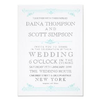 "Vintage Aqua Turquoise Typography Wedding Invite 5"" X 7"" Invitation Card"