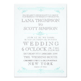 Vintage Aqua TurquoiseTypography Wedding Invite