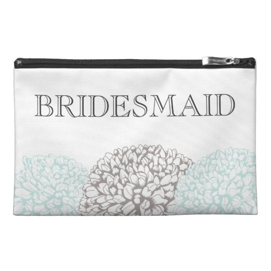 Vintage Aqua Zinnia Bridemaid's Make Up Bag