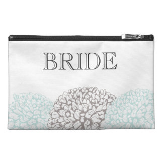 Vintage Aqua Zinnia Flowers Bride's Make Up Bag
