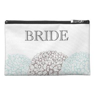 Vintage Aqua Zinnia Flowers Bride's Make Up Bag Travel Accessories Bags