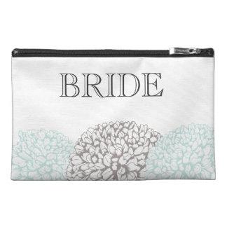 Vintage Aqua Zinnia Flowers Bride's Make Up Bag Travel Accessories Bag