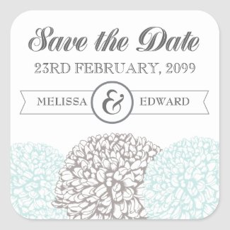 Vintage Aqua Zinnia Flowers Save the Date Stickers