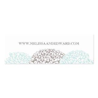 Vintage Aqua Zinnia Flowers Wedding Website Cards Business Card