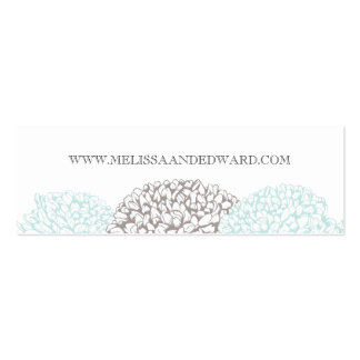 Vintage Aqua Zinnia Flowers Wedding Website Cards Double-Sided Mini Business Cards (Pack Of 20)
