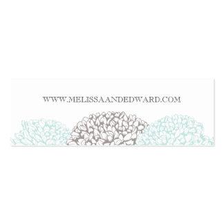 Vintage Aqua Zinnia Flowers Wedding Website Cards Mini Business Card
