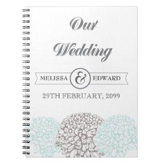 Vintage Aqua Zinnia Wedding Spiral Note Book