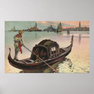 Vintage aquarelle Venice La Gondola Poster