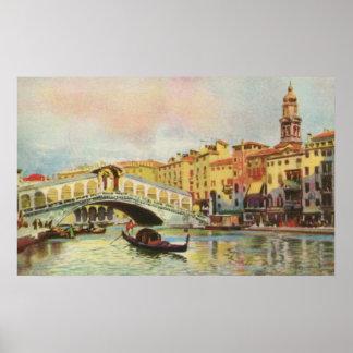 Vintage aquarelle Venice Rialto Bridge Poster