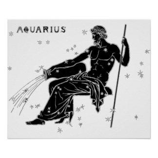 Vintage Aquarius in Black Poster