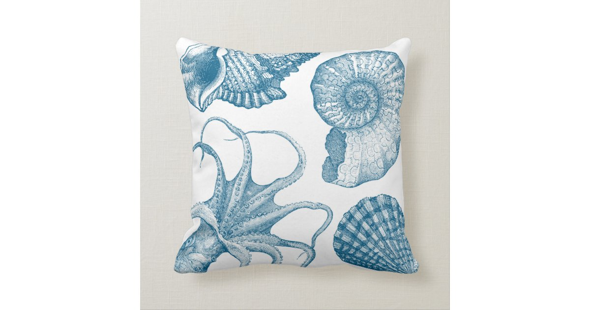 Vintage Aquatic Beach House Throw Pillow Zazzle