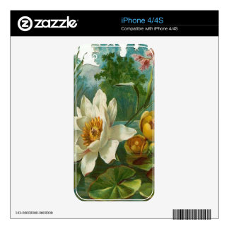 Vintage, Aquatic Flower, Wife Birthday Decal For iPhone 4