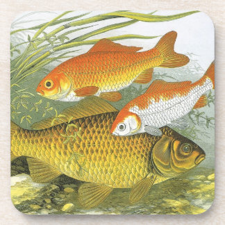 Vintage Aquatic Goldfish Koi Fish, Marine Sea Life Coaster