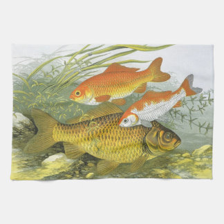 Vintage Aquatic Goldfish Koi Fish, Marine Sea Life Kitchen Towel