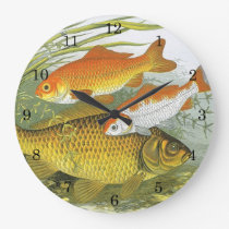 Vintage Aquatic Goldfish Koi Fish, Marine Sea Life Large Clock