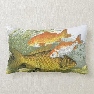Vintage Aquatic Goldfish Koi, Marine Sea Life Fish Throw Pillow
