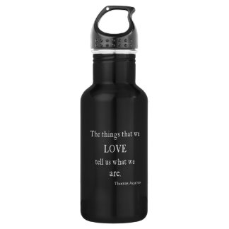 Vintage Aquinas Love Inspirational Quote / Quotes Water Bottle