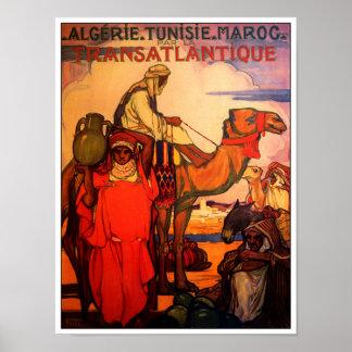 Vintage ARAB ALGERIA TUNISIA MOROCCO Travel Poster