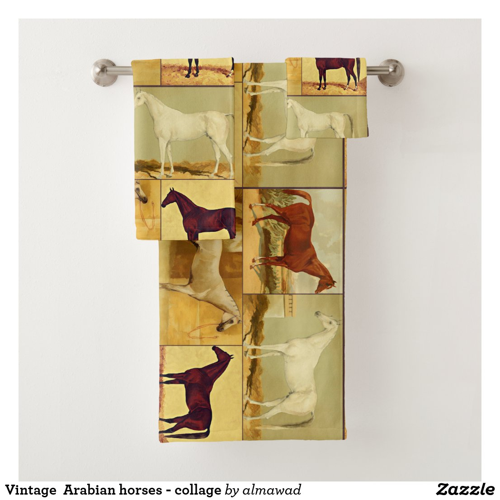 Vintage  Arabian horses - collage Bath Towel Set