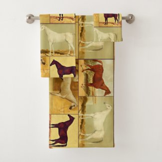 Vintage  Arabian horses - collage Bath Towel Set