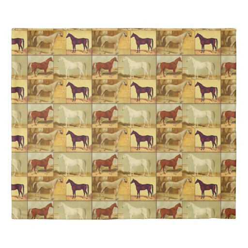 Vintage  Arabian horses - collage Duvet Cover