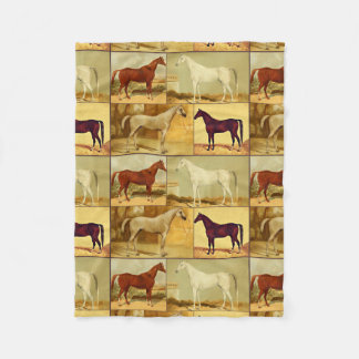 Vintage  Arabian horses - collage Fleece Blanket