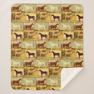 Vintage  Arabian horses - collage Sherpa Blanket