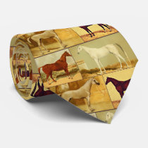 Vintage  Arabian horses - collage Tie