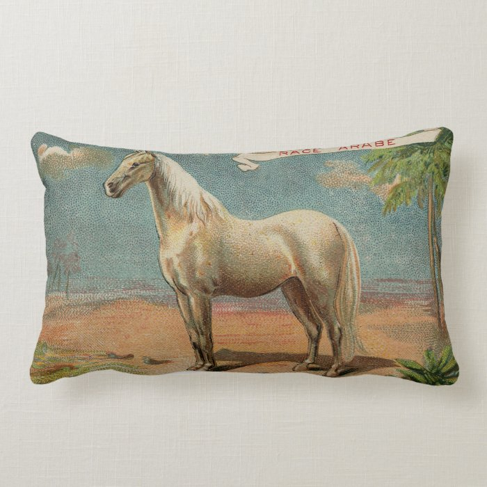 Vintage Arabian White Horse Lumbar Pillow