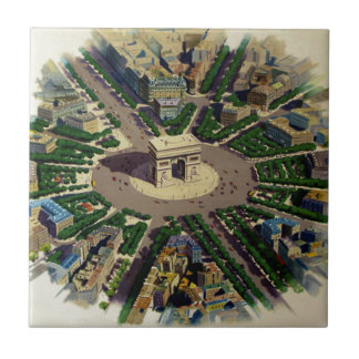 Vintage Arc de Triomphe Paris Small Square Tile
