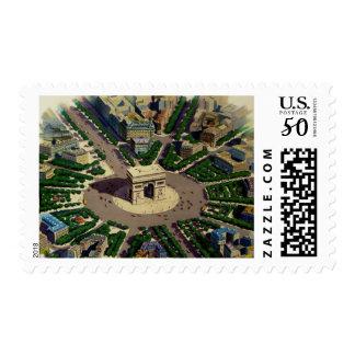 Vintage Arc de Triomphe Paris Stamps