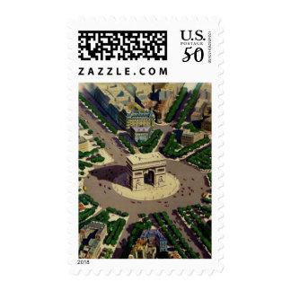 Vintage Arc de Triomphe Travel Advertisement Stamp