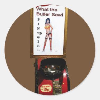 Vintage arcade machine pinup girl classic round sticker