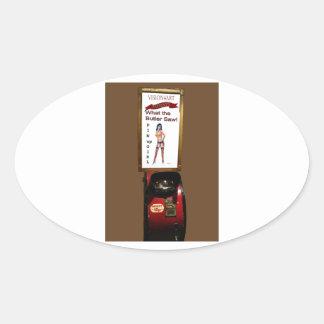 Vintage arcade machine pinup girl oval sticker