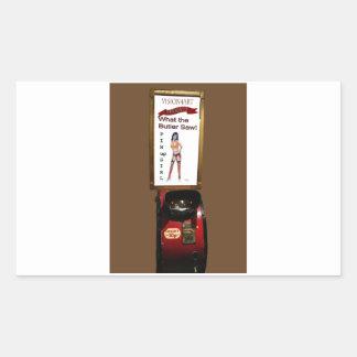 Vintage arcade machine pinup girl rectangular sticker