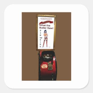 Vintage arcade machine pinup girl square sticker