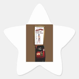 Vintage arcade machine pinup girl star sticker