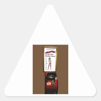 Vintage arcade machine pinup girl triangle sticker