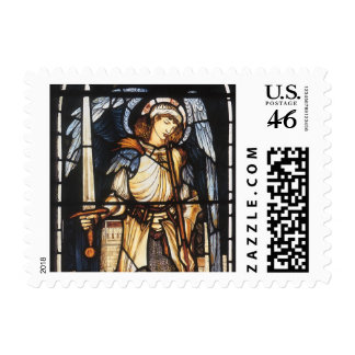 Vintage Archangel Saint Michael by Burne Jones Stamp