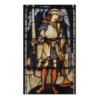 Vintage Archangel, Saint Michael by Burne Jones Posters