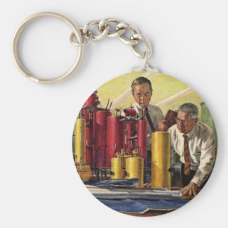 Vintage Architects Working in a Business Office Key Chain