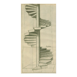 Vintage Architectural Stairs, Spiral Staircase Poster