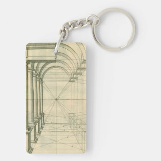 Vintage Architecture, Arches Columns Perspective Keychain