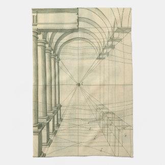 Vintage Architecture, Arches Columns Perspective Kitchen Towel