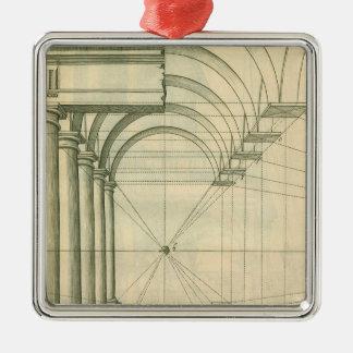 Vintage Architecture, Arches Columns Perspective Metal Ornament