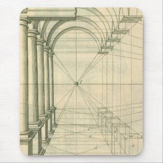 Vintage Architecture, Arches Columns Perspective Mouse Pad
