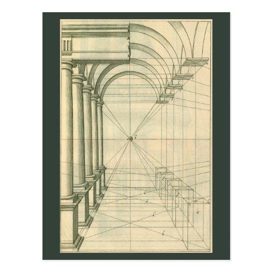 Vintage Architecture, Arches Columns Perspective Postcard